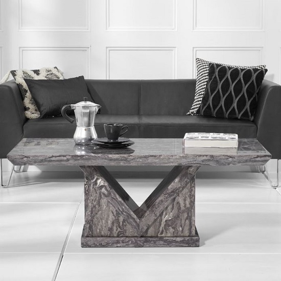 Balchor Marble Coffee Table In Grey With V Shape Base