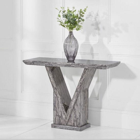 Balchor Marble Console Table In Grey With V Shape Base