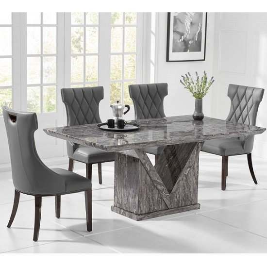 Belcher Small Grey Marble Dining Table With Four Tybrook Chairs