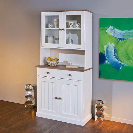 Belco Display Cabinet In White And Sepia Brown With 4 Doors