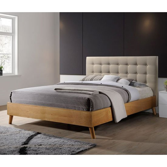 Belford King Size Bed In Beige Fabric And Natural Oak