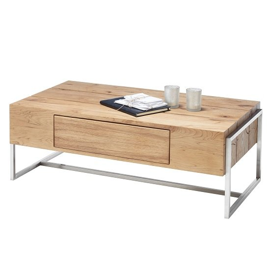 Belgium Wooden Coffee Table In Knotty Oak With 1 Drawer