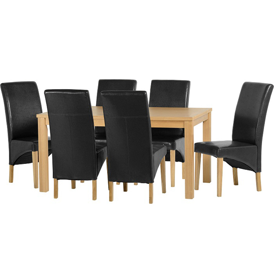 Belgrade Wooden Dining Set with 6 Black Dining Chairs