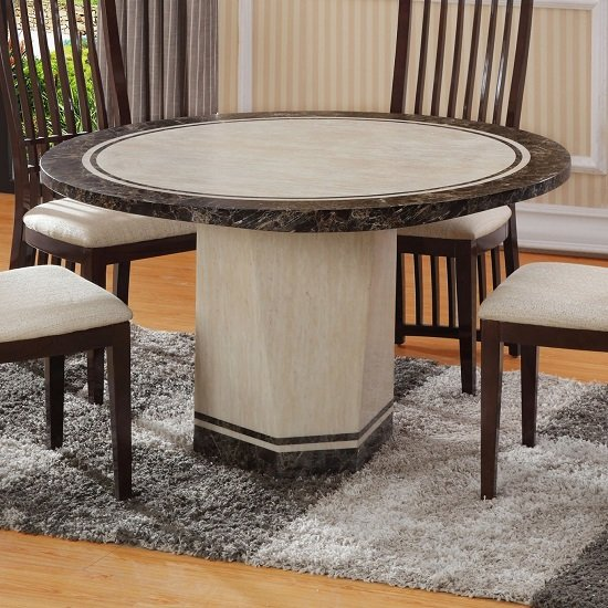 Belgrade Marble Dining Table Round In Cream And Striped Brow