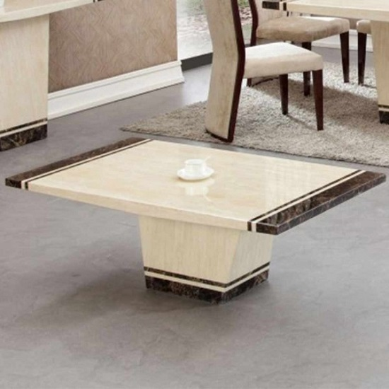 Belegra Marble Coffee Table In Cream And Striped Brown 26038