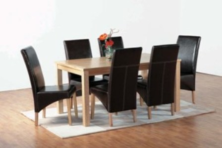 Belgrade Wooden Dining Set with 6 Dining Chairs In Brown