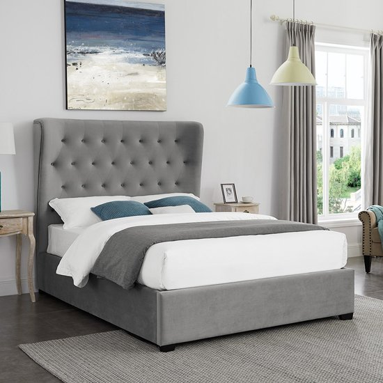 Belgravia Fabric King Size Bed In Grey