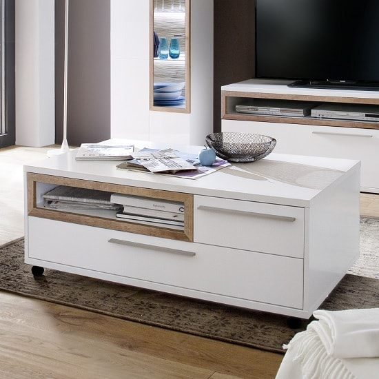 Belina Coffee Table In White With High Gloss And Castors