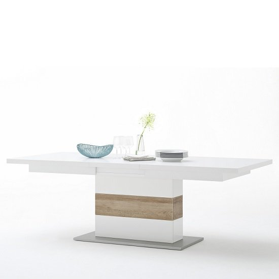 Belina Extendable Dining Table In White And Oak With High Gloss