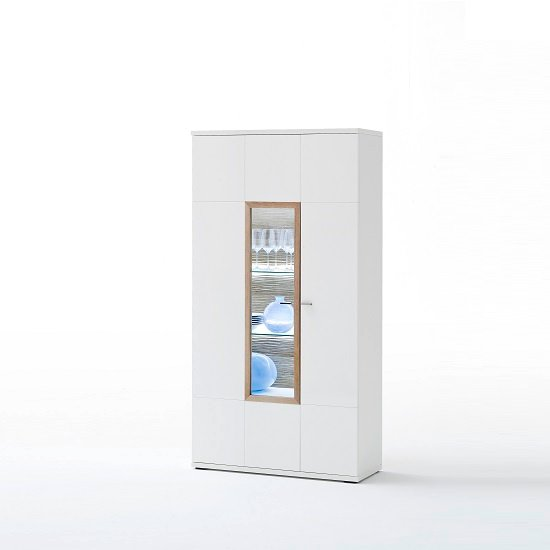Belina Display Cabinet In White With High Gloss And LED_3