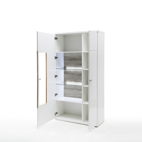 Belina Display Cabinet In White With High Gloss And LED_2