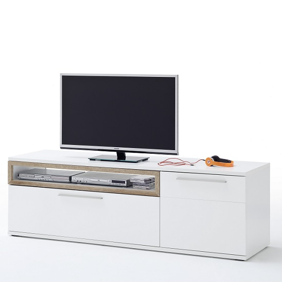 Belina Large TV Stand In White With High Gloss And Oak Inserts_3