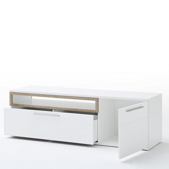 Belina Large TV Stand In White With High Gloss And Oak Inserts_2