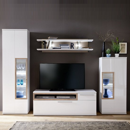 Belina Living Room Set 1 In White With High Gloss And Led