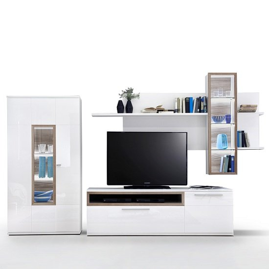 Belina Wall Display Unit In White Oak And High Gloss With