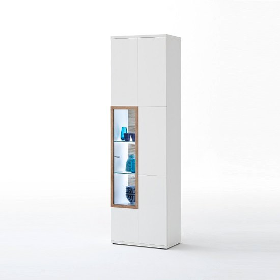 Belina Right Display Cabinet In White With High Gloss And LED