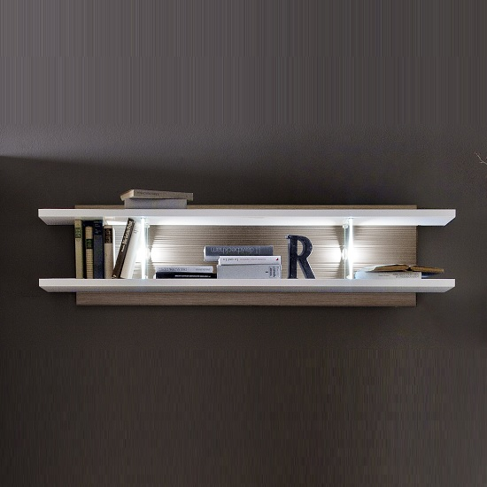 Belina Wall Display Shelf In White Oak And High Gloss With LED_1