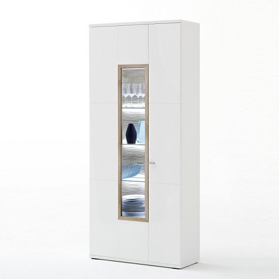 Belina Wide Display Cabinet In White With High Gloss And LED_3