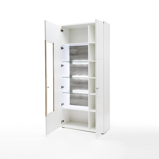 Belina Wide Display Cabinet In White With High Gloss And LED_2