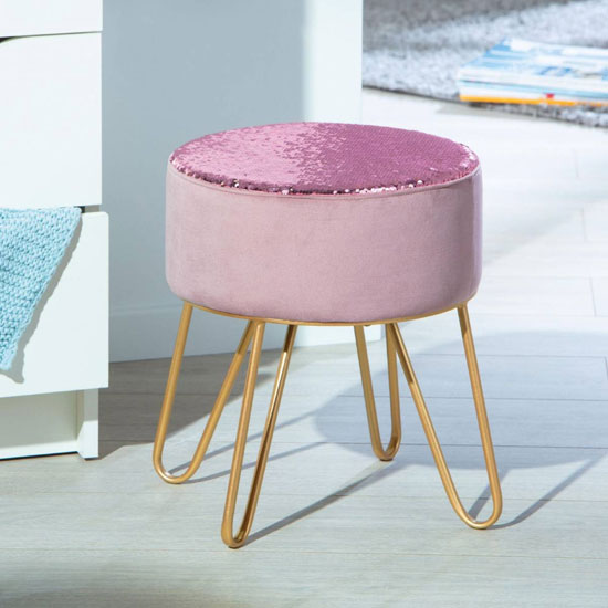 Belize Fabric Ottoman Stool In Pink With Metal Legs