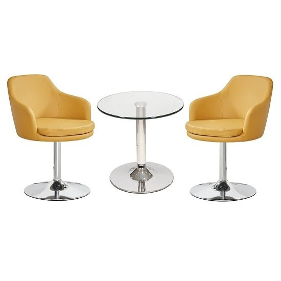 Belize Glass Bistro Table With 2 Curry Bucketeer Chairs