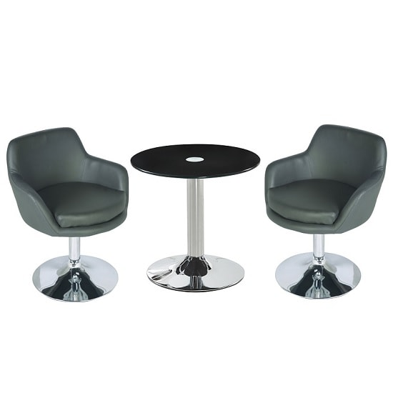 Belize Glass Bistro Table In Black With 2 Bucketeer Grey Chairs