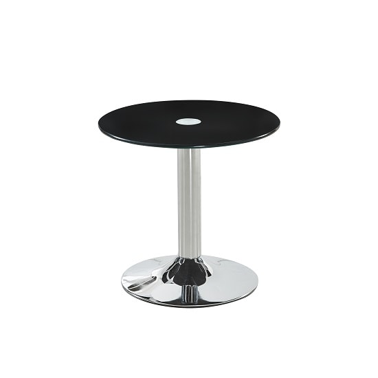 Belize Glass Bistro Side Table In Black With Chrome Base