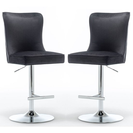 Product photograph showing Belkon Black Velvet Upholstered Gas-lift Bar Chairs In Pair