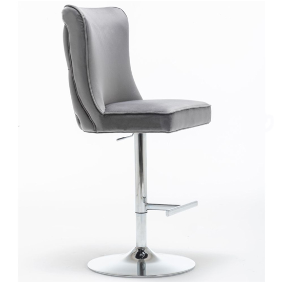 Belkon Velvet Upholstered Gas-Lift Bar Chair In Dark Grey