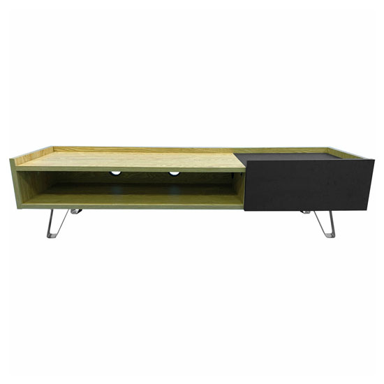 Bella Wooden TV Stand In Oak With Chrome Base