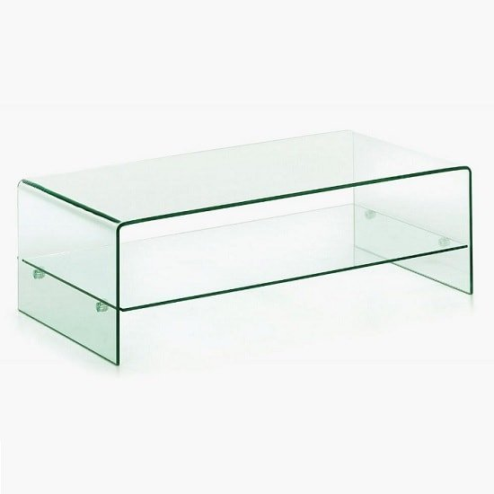 Silvio Coffee Table Rectangular In Clear Glass With Shelf
