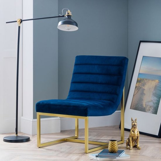Bellagio Velvet Bedroom Chair In Blue And Gold