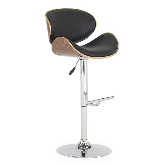 Bellamy Bar Stool In Black Faux Leather With Metal Base