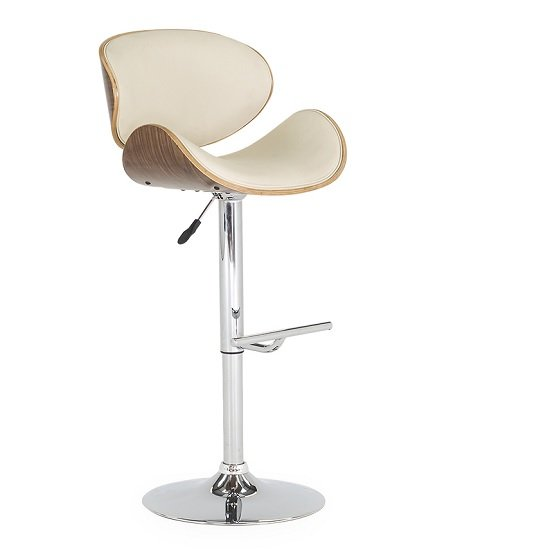 Bellamy Bar Stool In Cream Faux Leather With Metal Base_1