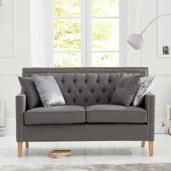 Bellard Fabric 2 Seater Sofa In Grey And Natural Ash Legs