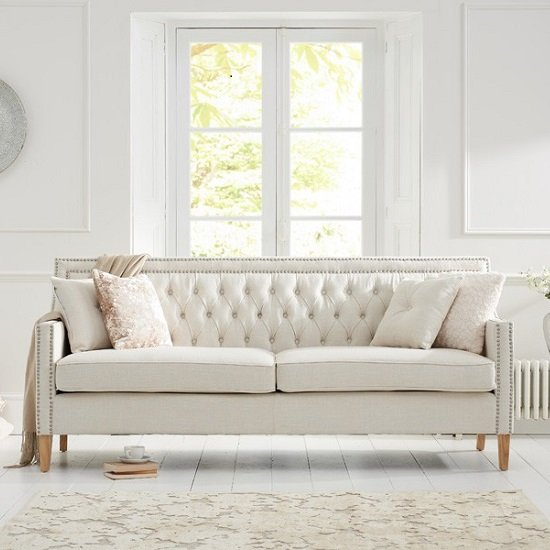 Bellard Fabric 3 Seater Sofa In Ivory White And Natural Ash Legs