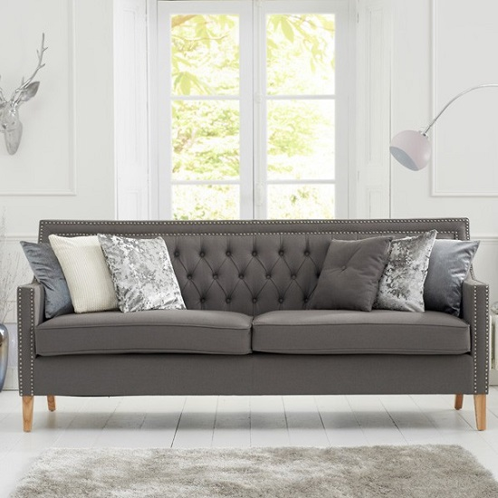 Bellard Fabric 3 Seater Sofa In Grey And Natural Ash Legs_1