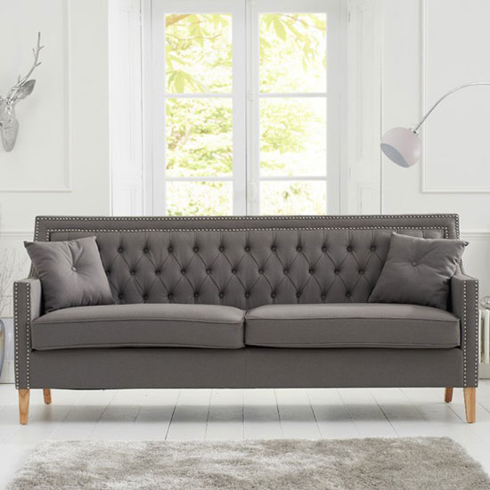 Bellard Fabric 3 Seater Sofa In Grey And Natural Ash Legs_3
