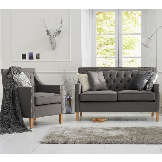 Bellard Fabric Sofa Chair In Grey With Natural Ash Legs_8