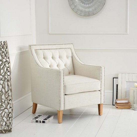 Ballark Fabric Sofa Chair In Ivory White With Natural Ash Legs