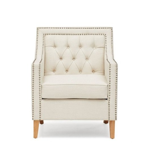 Bellard Fabric Sofa Chair In Ivory White With Natural Ash Legs_6