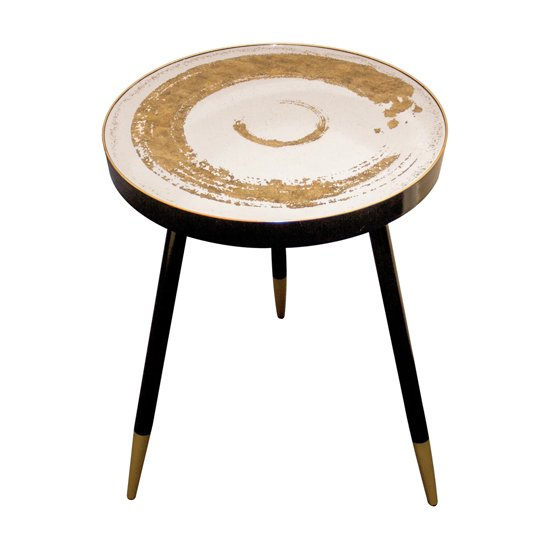 Bellatrix Mirrored Top Side Table With Gold Undertones