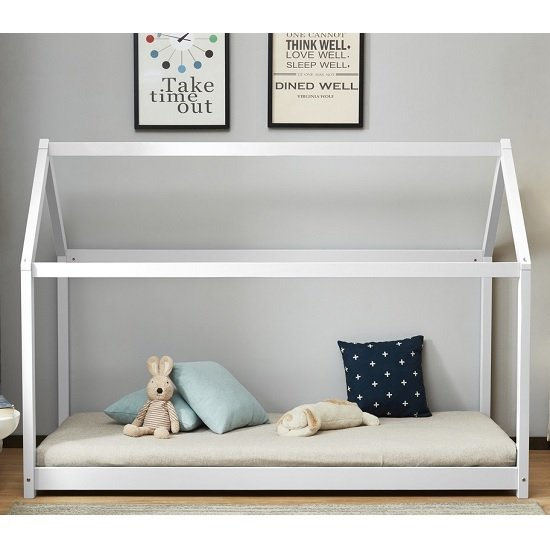 Bellerby Wooden Single House Bed In White_2