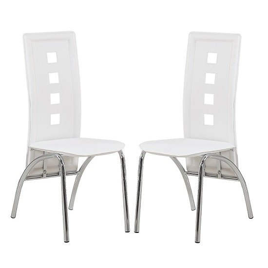 Bellini Dining Chairs In White Faux Leather In A Pair