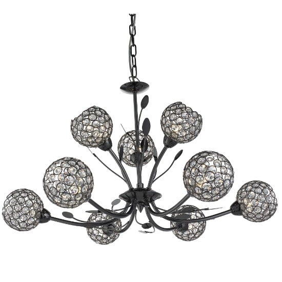 Bellis II 9 Light Ceiling Fitting In Black Chrome