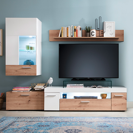Belloz LED Living Room Furniture Set In White And Artisan Oak