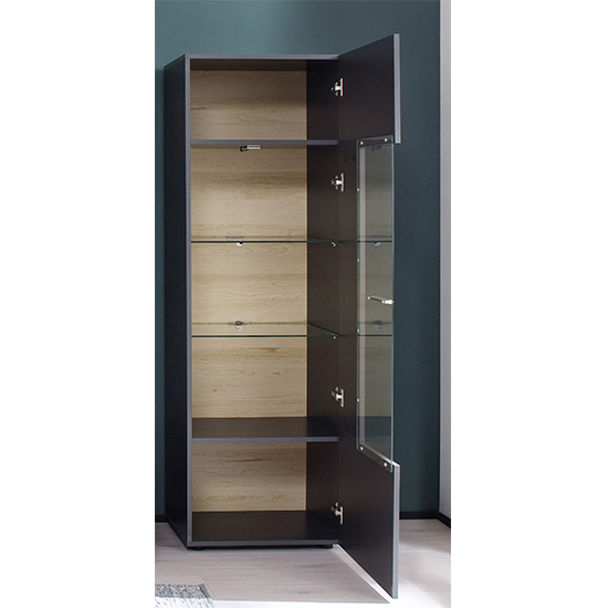 Belloz LED Wooden Display Cabinet In Matt Grey_2