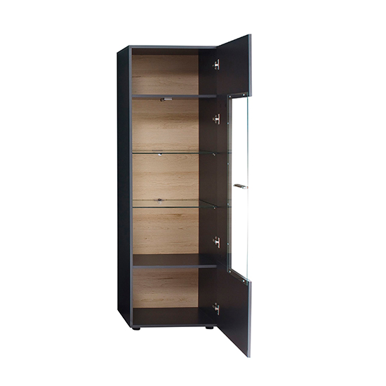 Belloz LED Wooden Display Cabinet In Matt Grey_4