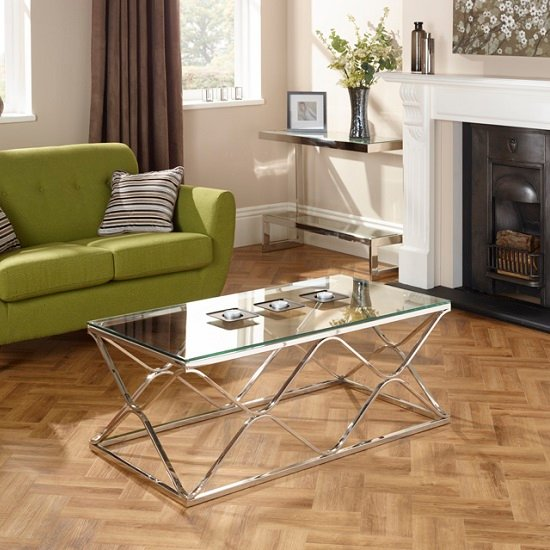 Belmont Glass Coffee Table With Polished Stainless Steel Base