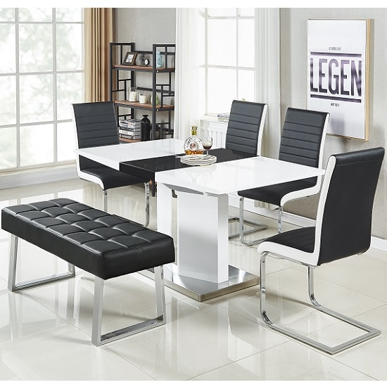 Belmonte Small Extendable Dining Set With Bench In White Black_1